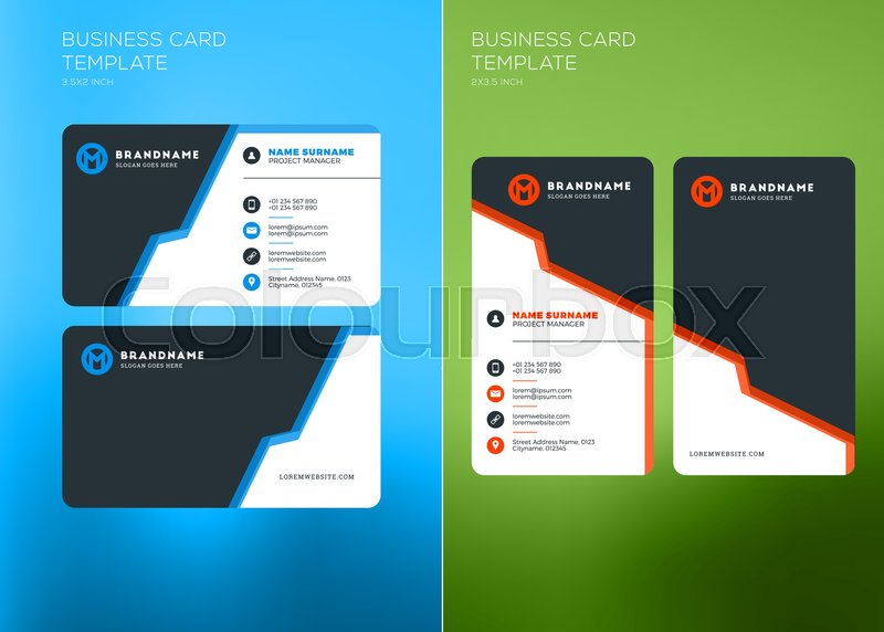Corporate Business Card Print Template Vertical And Horizontal - Business card vertical template