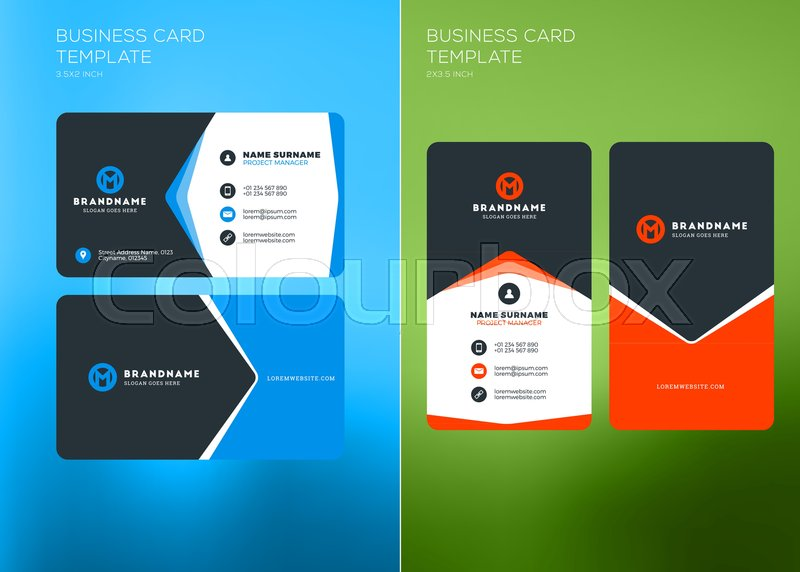 Corporate business card print template vertical and horizontal corporate business card print template vertical and horizontal business card templates vector illustration business card mockup stock vector colourmoves