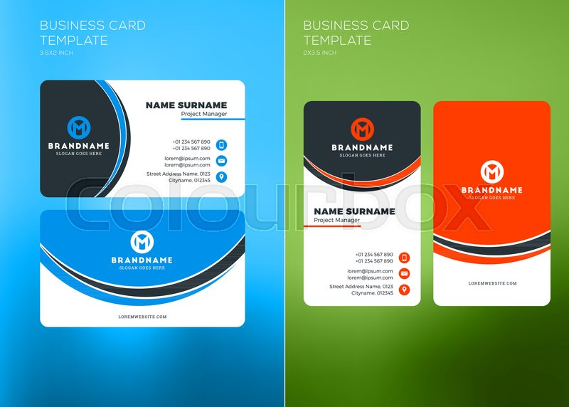 Corporate business card print template vertical and horizontal corporate business card print template vertical and horizontal business card templates vector illustration business card mockup stock vector friedricerecipe Image collections