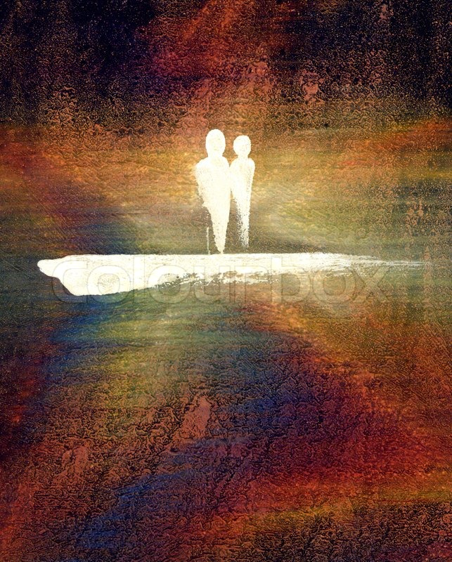 light background paintings picture painted by me called coupleit shows a symbolic man and a