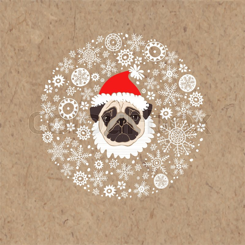 17cada2d63e Stock vector of  Pug in Santa s hat and snowflakes. Dog- animal symbol of