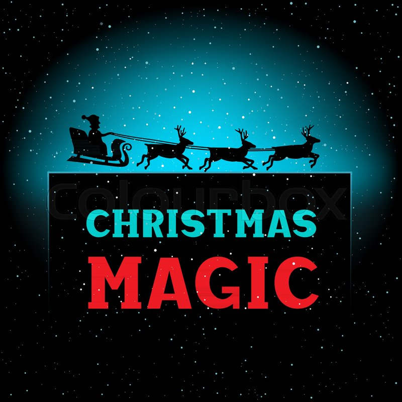 Winter christmas magic night santa time new year greeting text winter christmas magic night santa time new year greeting text background illustration with falling snow on dark and space for lettering stock vector m4hsunfo