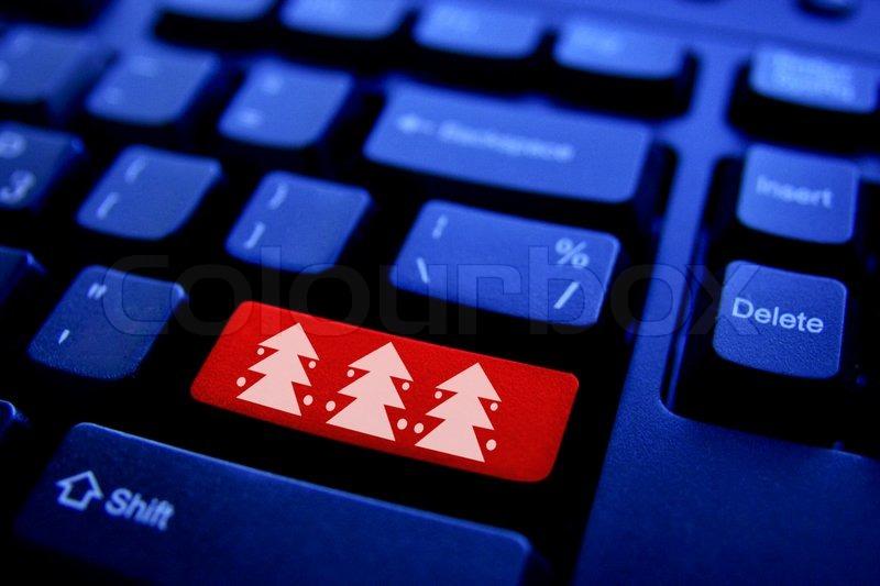 Computer keyboard with Christmas tree key | Stock Photo | Colourbox