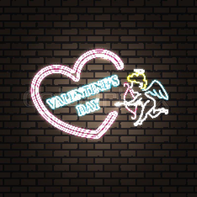 Neon Happy Valentineu0027s Day Banner. Valentine Lamp Romance Heart Shape.  Colored Vector Light Glow Poster. Nightclub Bulb Brick Wall Label Card  Design.