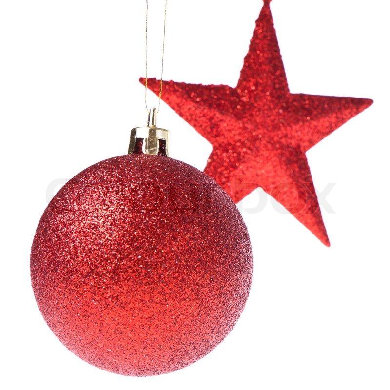 weihnachtskugel mit stern isoalted auf wei em hintergrund stockfoto colourbox. Black Bedroom Furniture Sets. Home Design Ideas