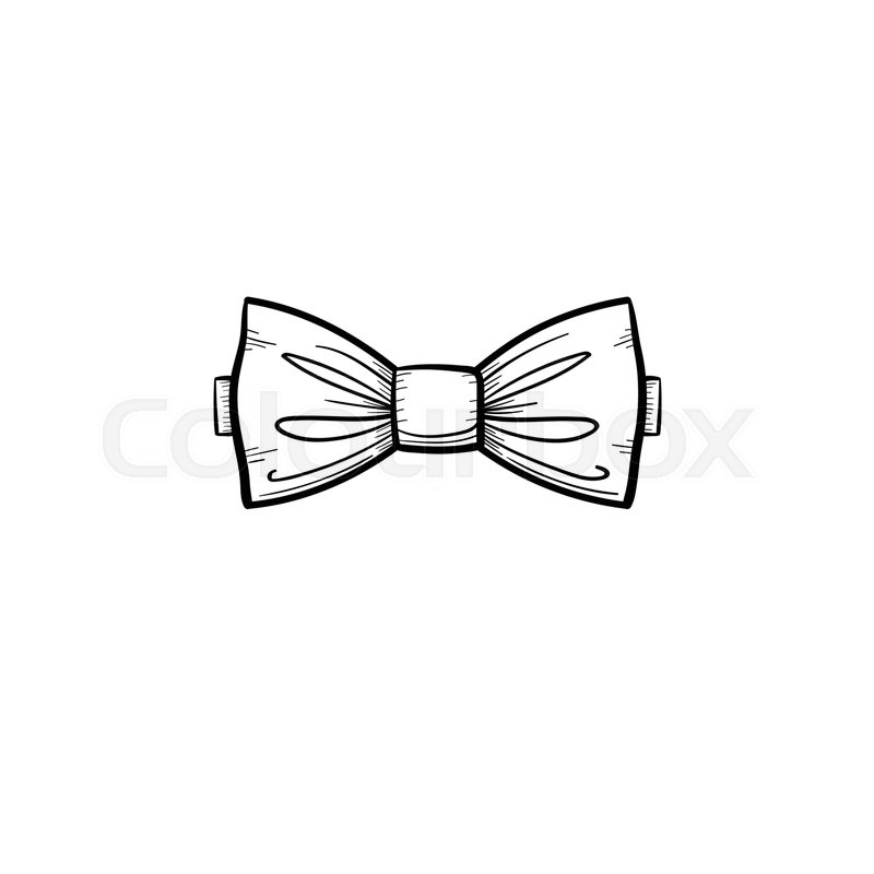Vector hand drawn bowtie outline doodle icon. Bow tie ...