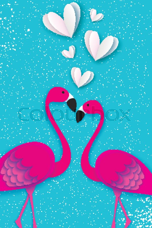 Exotic birds love. Flamingo couple. Beautiful pink birds. Tropical Jungle. Palm leaves. Love with paper cut white hearts. Romantic Invitation card. Happy Valentine\'s day. 14 February. Vector, vector
