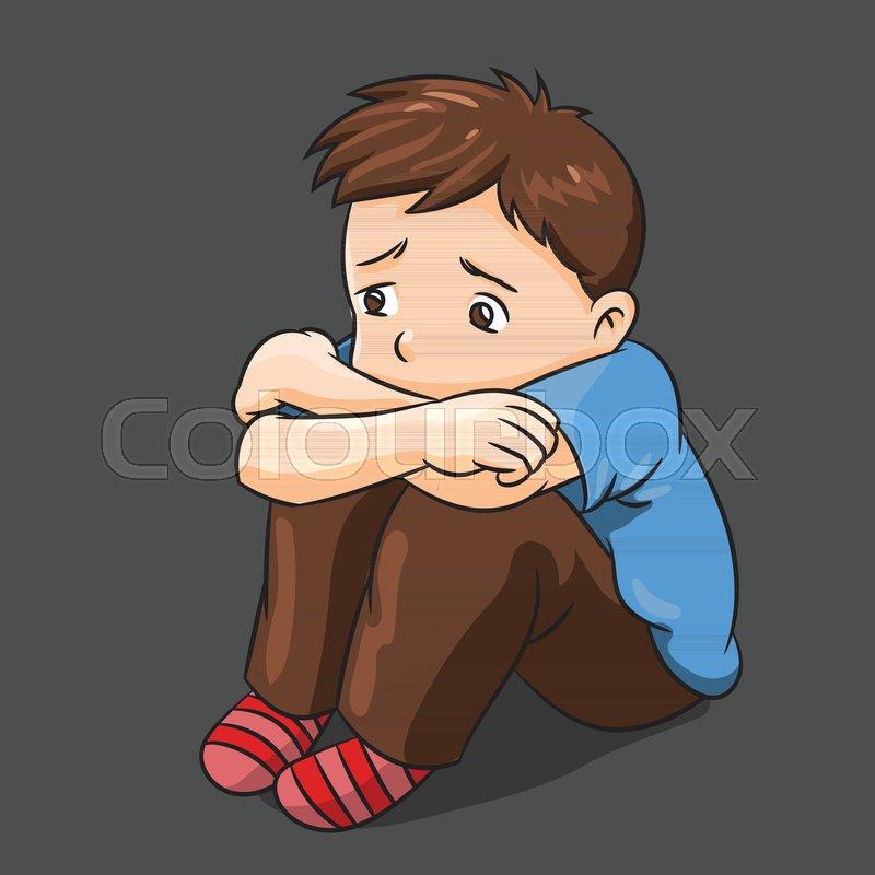 Illustration Of Cartoon Lonely Boy Stock Vector Colourbox