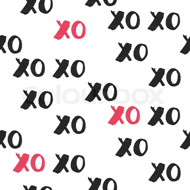 Hand Drawn Vector Seamless Pattern With Xoxo Hipster Symbols Of