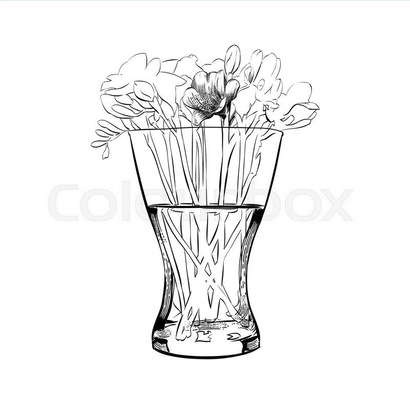 Flower vase. Gentle bouquet. Ornamental pattern Wall decoration ...