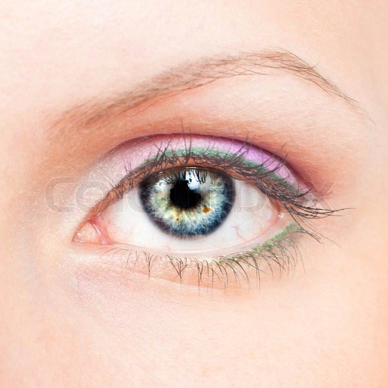 close up of beauty female eye with pink and green make up. Black Bedroom Furniture Sets. Home Design Ideas