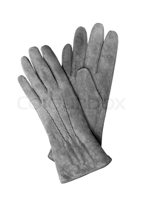46b80f704 Stock image of 'Beautiful grey suede leather women's gloves isolated on  white'
