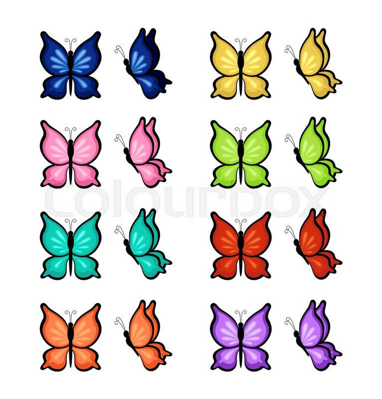Butterflies of different colors on a ... | Stock vector ...