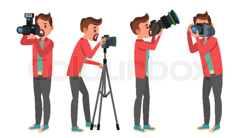 Photographer Vector Photo Studio Making Photos Digital Camera And Professional Equipment Taking Pictures Isolated On White Cartoon