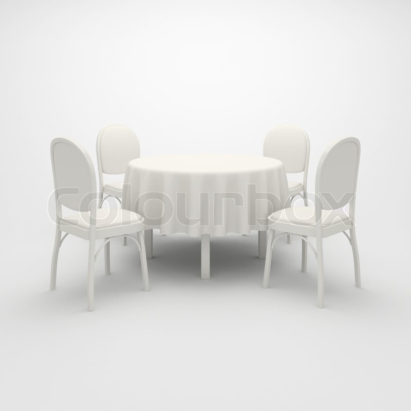 Empty white round table cloth and four chairs on a white background | Stock Photo | Colourbox & Empty white round table cloth and four chairs on a white ...