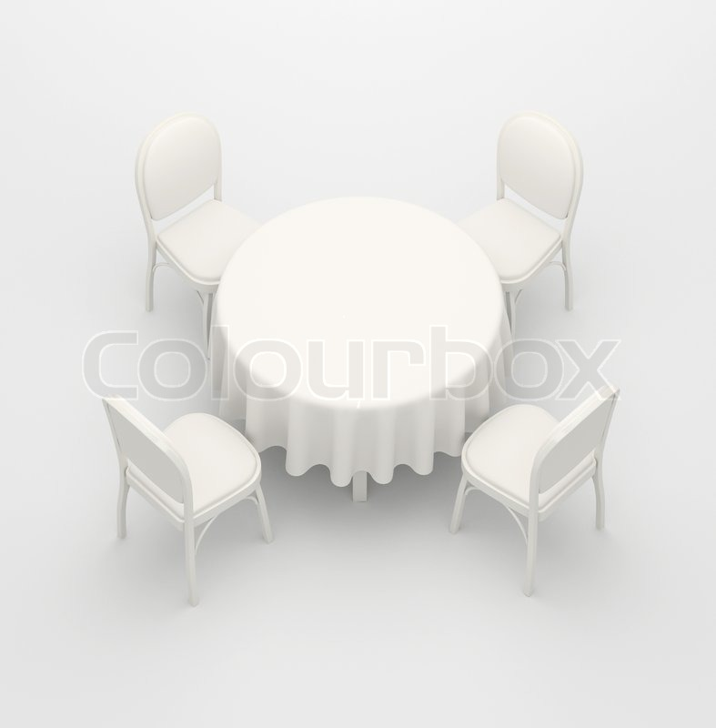 Empty, White Round Table, Cloth And Four Chairs On A White Background |  Stock Photo | Colourbox