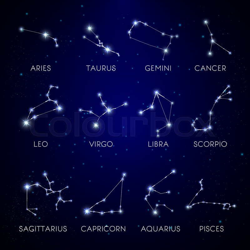 Zodiac signs constellation stars on     | Stock vector | Colourbox