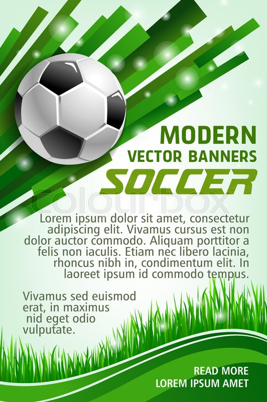 Football Sport Game Banner With Soccer Stock Vector Colourbox