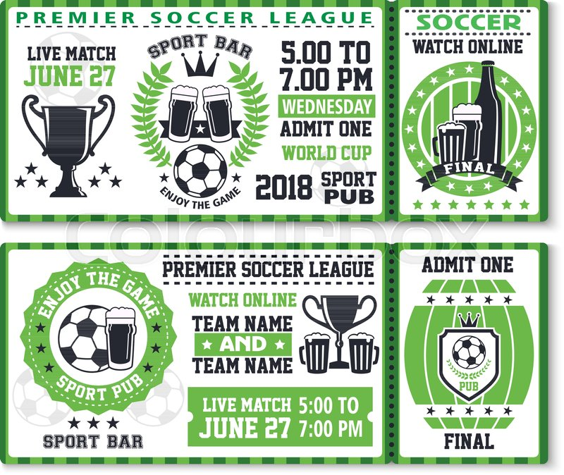 Soccer or football sport game league match ticket for sport bar ...