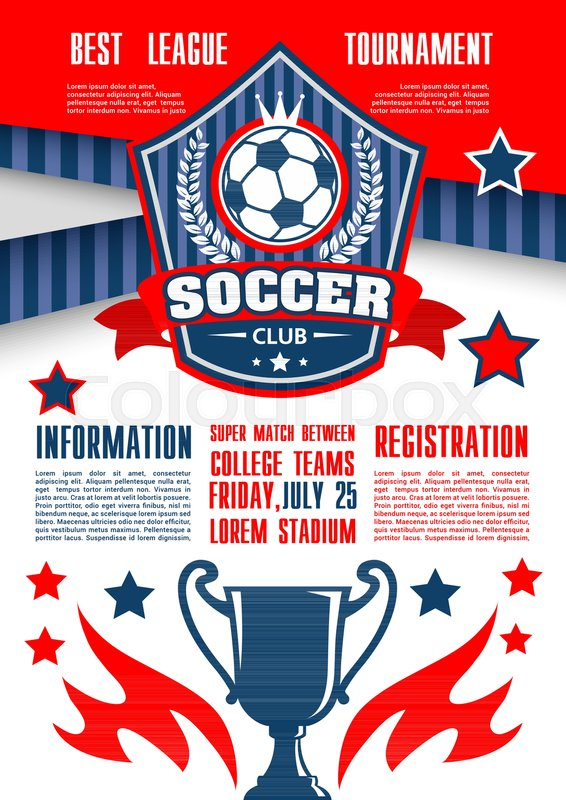 Soccer sport club tournament of college league banner template ...