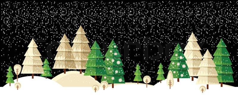 Winter Wonderland Night Background With Christmas Tree