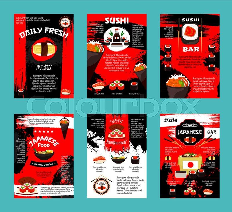 Japanese cuisine restaurant and sushi bar menu template. Salmon fish ...