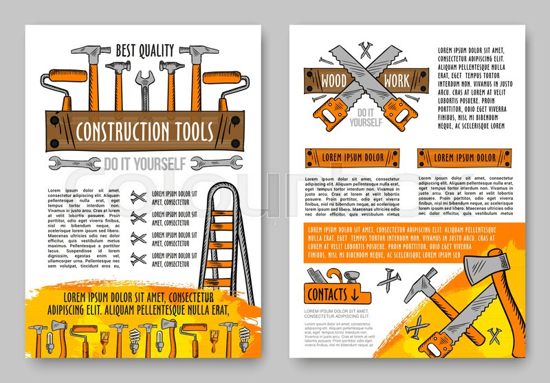 Work tool and home repair equipment sketch poster builder hammer builder hammer spanner and wrench painter roller and brush carpenter saw axe and jack plane handyman toolbox and ladder for diy themes design solutioingenieria Gallery