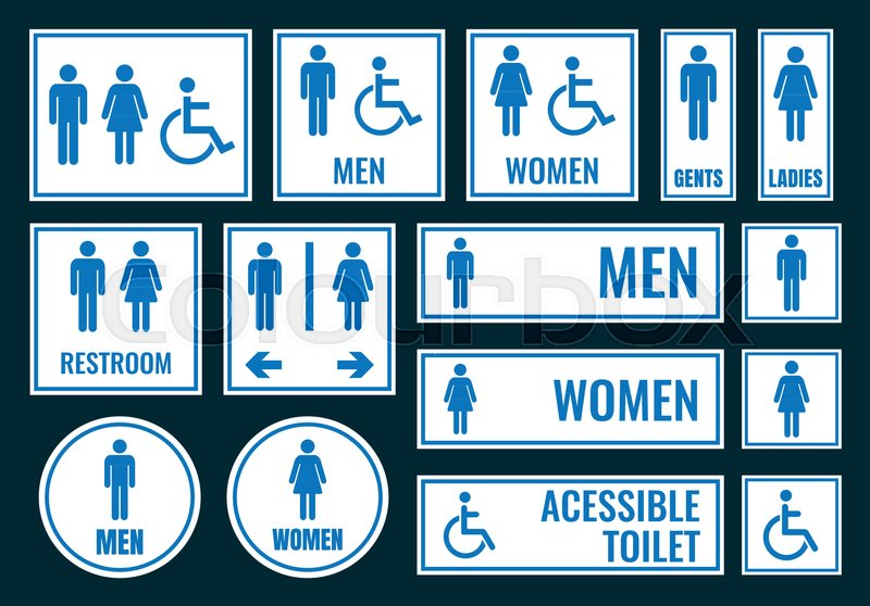 . Toilet icons and restroom signs  wc       Stock vector   Colourbox