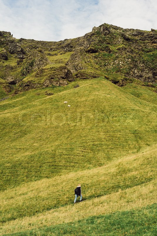 High angle view of person walking on footpath and beautiful landscape in Iceland, stock photo