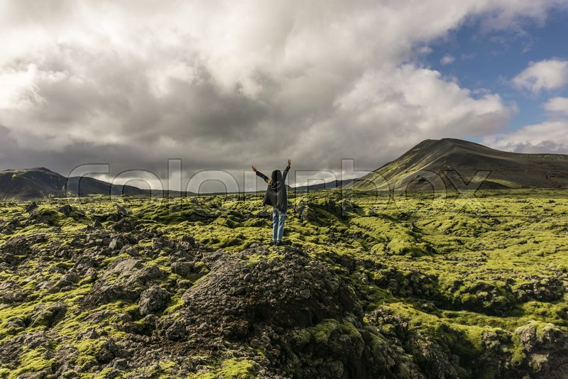 Person standing on rock with raised hands and looking at scenic icelandic landscape, stock photo