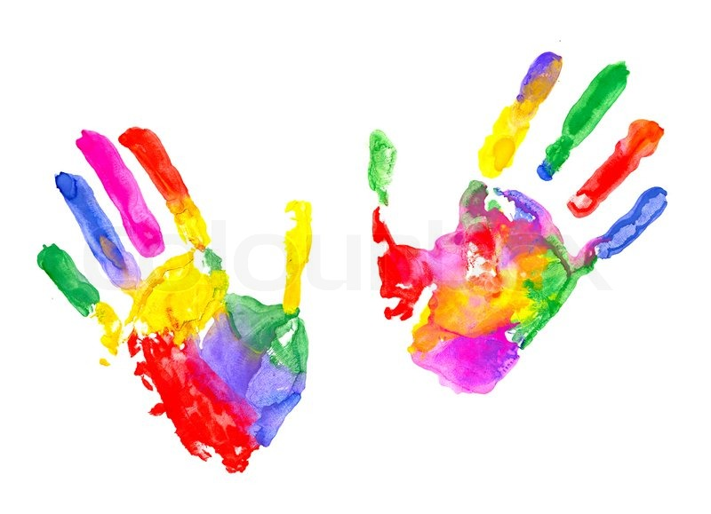 Multicolored Hand Print On White ...