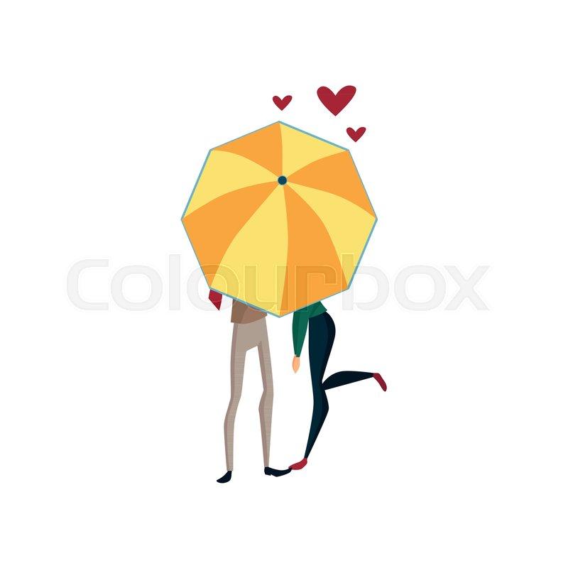 Couple In Love Under One Big Umbrella Stock Vector Colourbox
