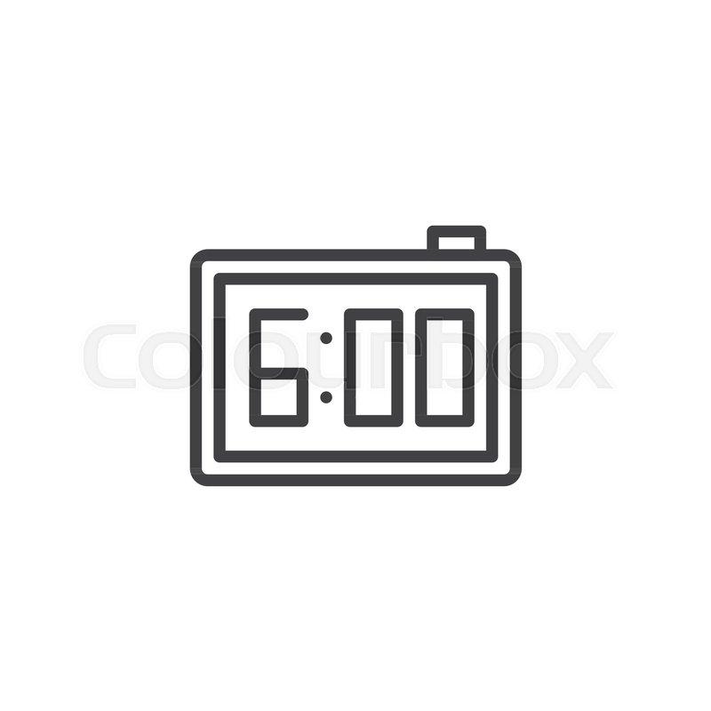 Digital alarm clock line icon, outline     | Stock vector