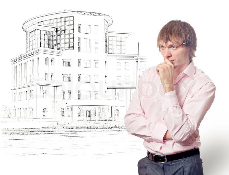 architekten planen haus isoliert auf wei stockfoto colourbox. Black Bedroom Furniture Sets. Home Design Ideas