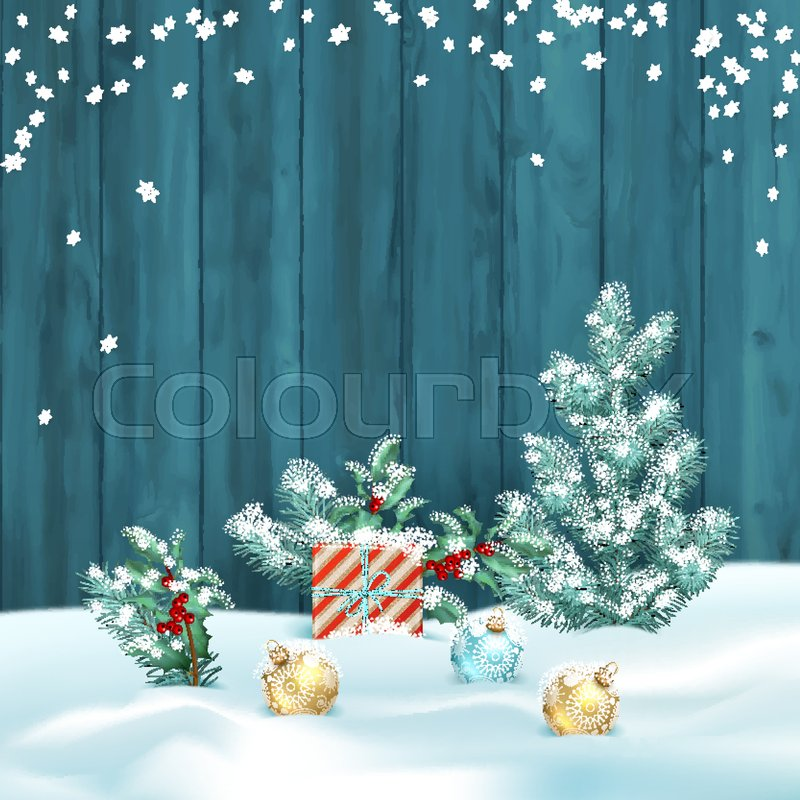 vector christmas winter landscape with frosty christmas tree gifts and decorations on the background of wooden wall stock vector colourbox - Frosty Blue Christmas Decorations