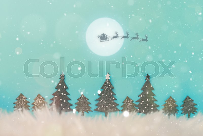 Christmas landscape with snow. Merry christmas and happy new year greeting card with copy-space. Christmas celebration holiday background. Christmas tree. , stock photo
