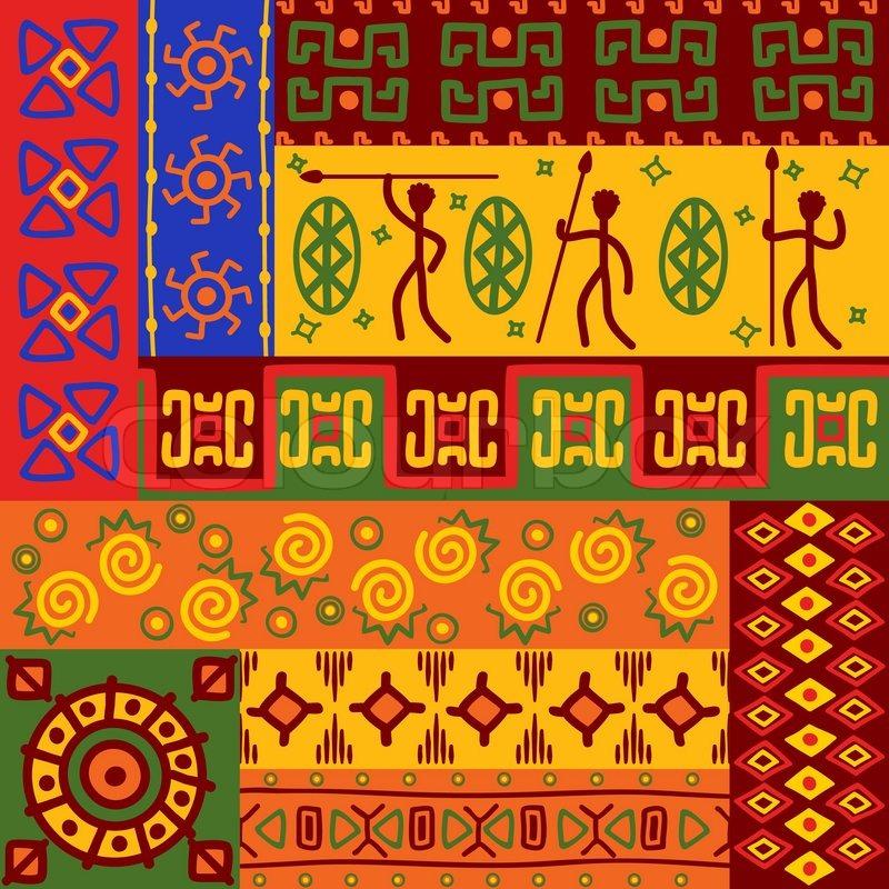 Abstrakte afrikanische ethnische Muster und Ornamente für