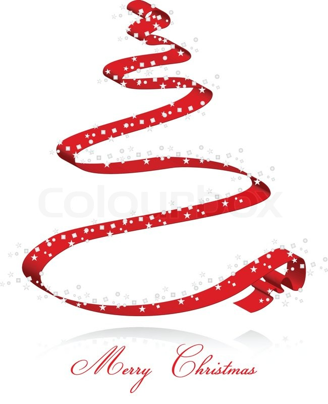 Red ribbon christmas tree card stock vector colourbox for Red ribbon around tree