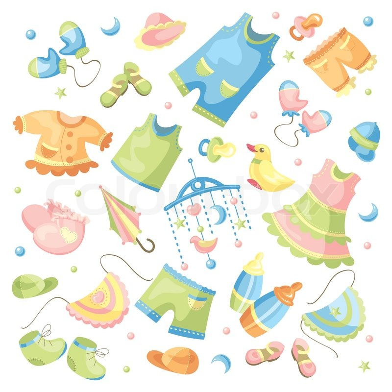 Vector set of baby clothing and accessories | Stock Vector | Colourbox