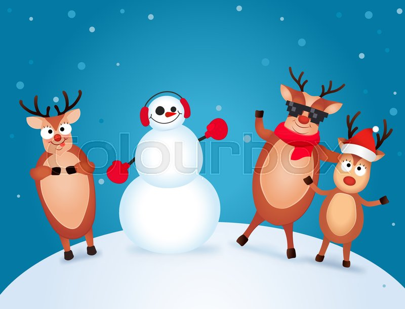 Christmas Reindeer. Cute and funny character Deer and Snowman ...
