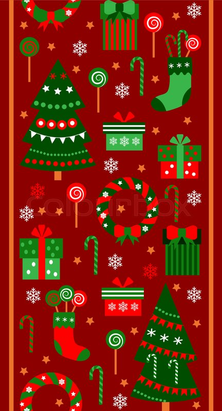merry christmas and happy new year vertical border ribbon gifts boxes tree socks and sweets in flat style vector seamless pattern with objects stock