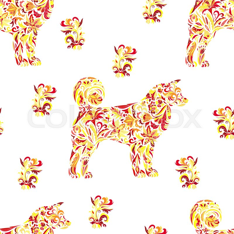 Seamless Pattern With Dogs On Zentangle Style Chinese New Year