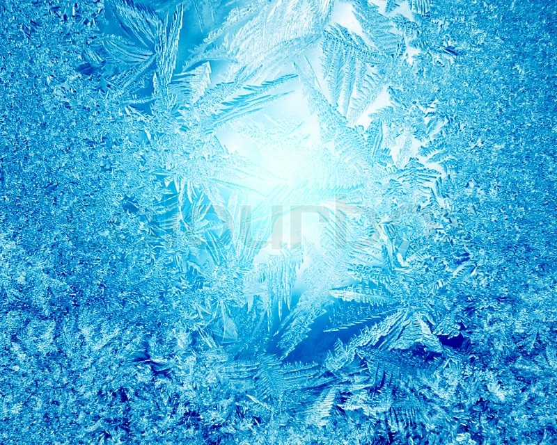 Blue frost winter background with white snowflakes | Stock ...