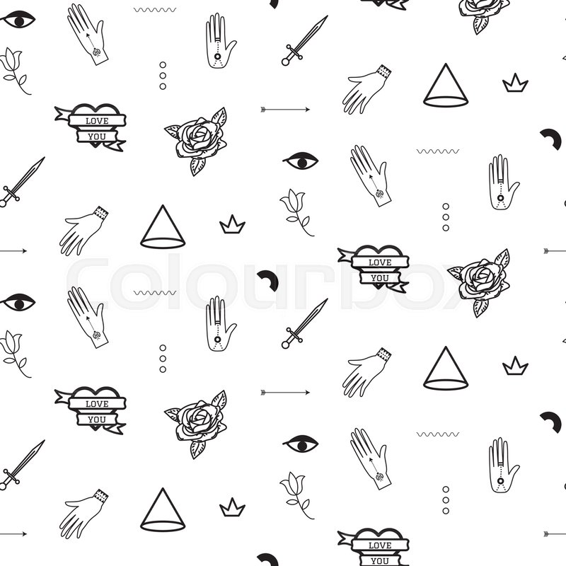 Doodle Hipster Flash Tattoo Style Seamless Vector Pattern Simple Outline Black And White Line Background
