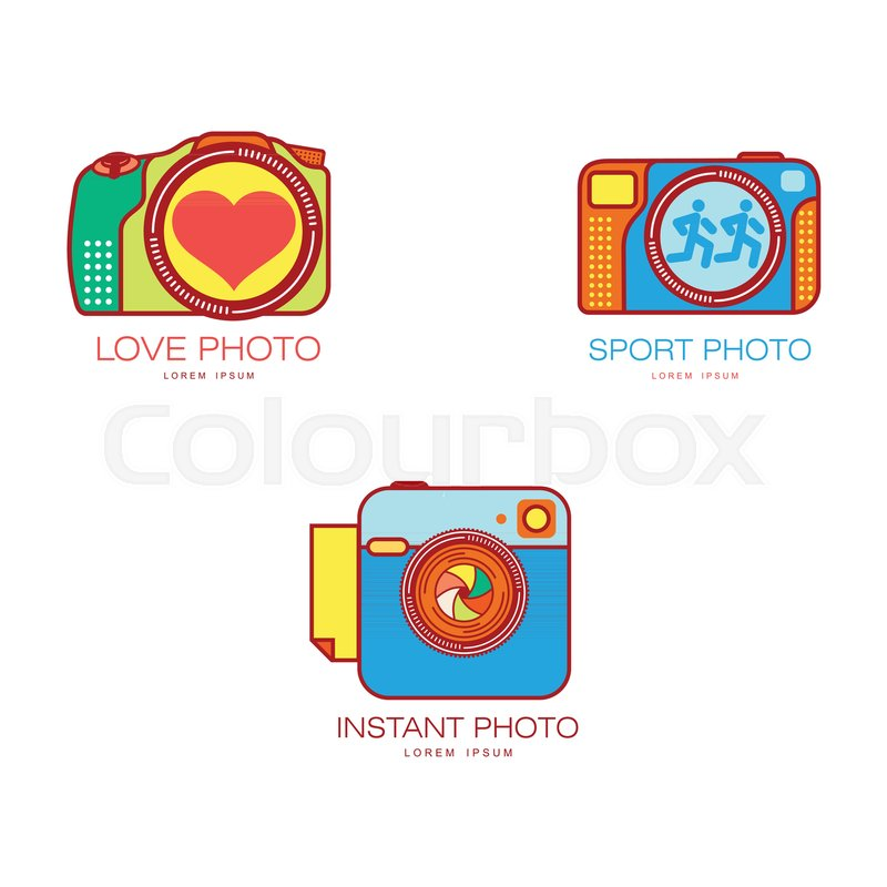 Set of colorful camera logo templates, vector illustration isolated ...