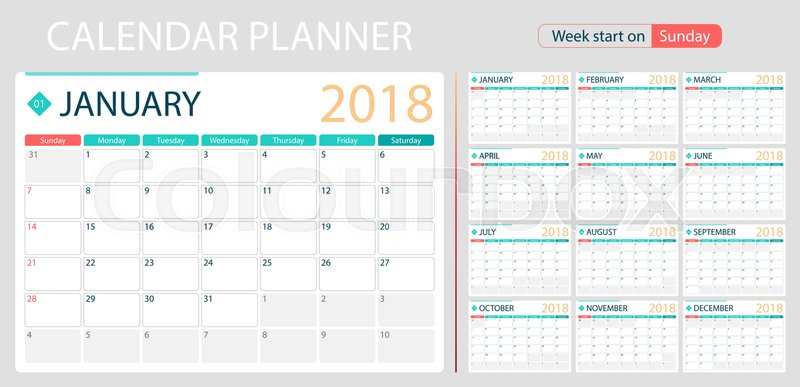 English Calendar Planner For Year 2018 Week Start On Sunday Set Of