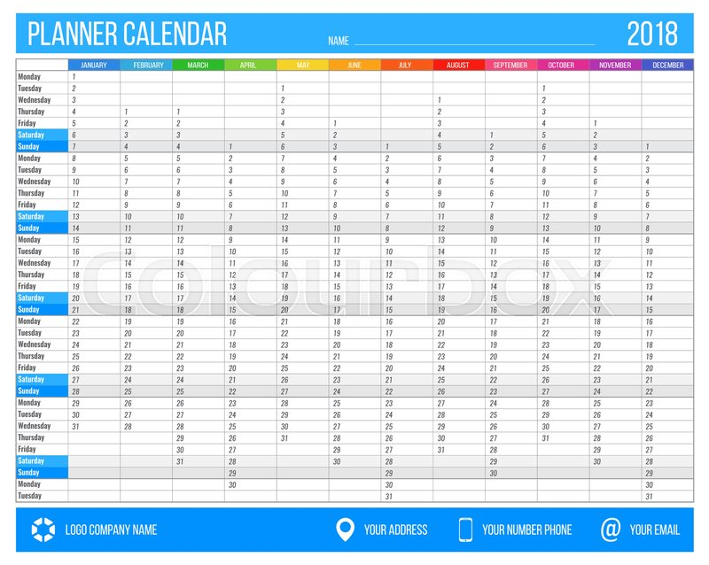 English Calendar Planner For Year 2018 12 Months Corporate Design