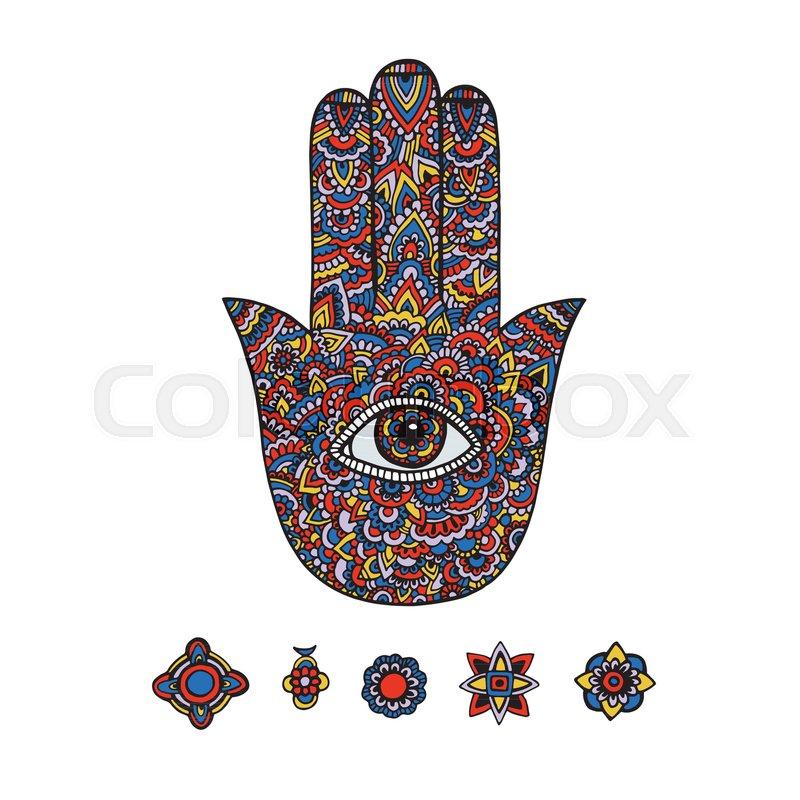 Multicolored Illustration Of A Hamsa Hand Symbol Hand Of Fatima