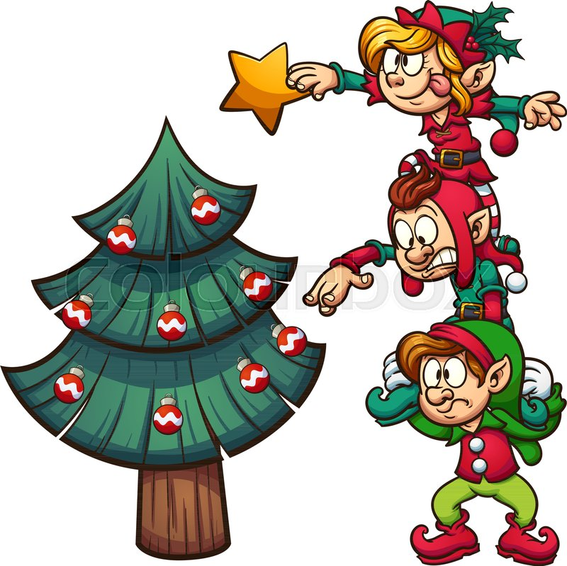 cartoon elves standing on each other stock vector colourbox cartoon elves standing on each other