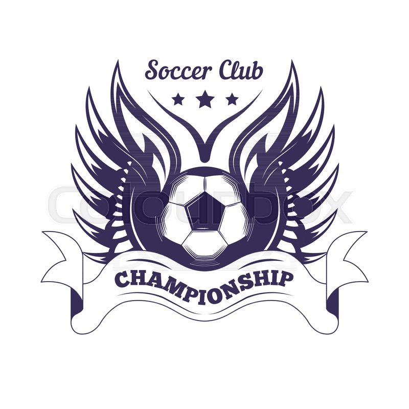 Soccer Club Or Football League Championship Cup Logo Template. Vector  Isolated Heraldic Icon Of Soccer Ball, Football Champion Wings And Victory  Laurel Star ...